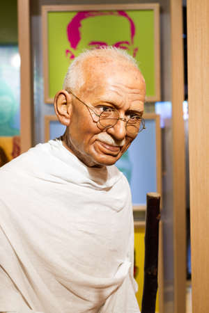 BANGKOK, THAILAND - DECEMBER 19: Wax figure of the famous Mahatma Ghandi from Madame Tussauds on December 19, 2015 in Bangkok, Thailand.