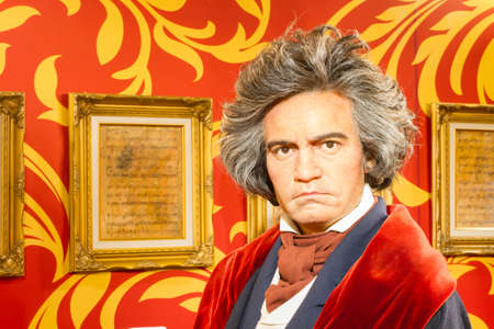 beethoven: BANGKOK, THAILAND - DECEMBER 19: A waxwork of Ludwig van Beethoven on display at Madame Tussauds on December 19, 2015 in Bangkok, Thailand