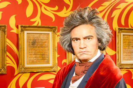 BANGKOK, THAILAND - DECEMBER 19: A waxwork of Ludwig van Beethoven on display at Madame Tussauds on December 19, 2015 in Bangkok, Thailand
