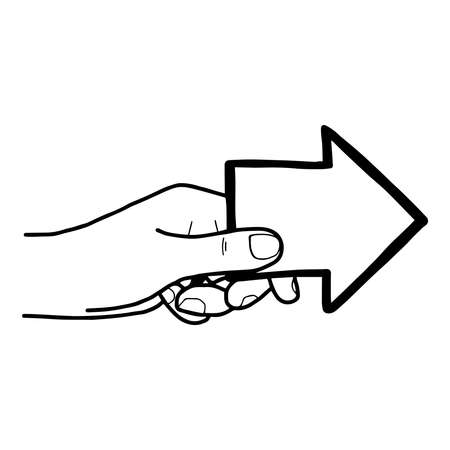 rising an arm: illustration vector doodle hand drawn of left hands holding arrow pointing Illustration