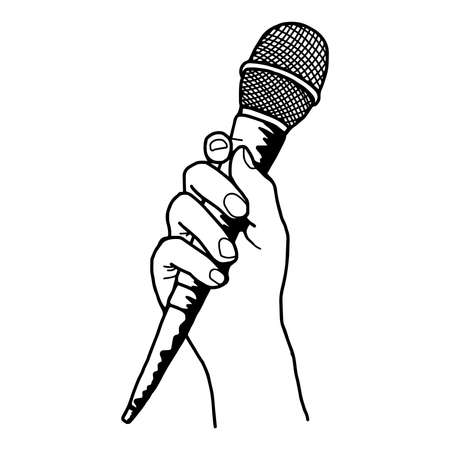 illustration vector doodle hand drawn of sketch hand holding microphone.