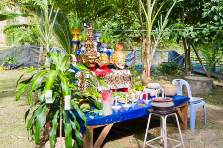 CHIANG RAI, THAILAND - SEPTEMBER 1 : set of altar table in ancient Thai traditional style on September 1, 2016 in Chiang rai, Thailand. Editorial