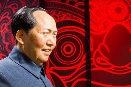 BANGKOK, Tailandia - 19 de diciembre: Figura de cera de la famosa Mao Zedong del Madame Tussauds el 19 de diciembre, 2015, en Bangkok, Tailandia Foto de archivo - 63614993