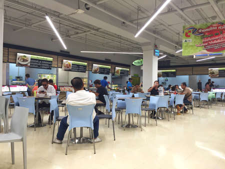 produce departments: BANGKOK, THAILAND - OCTOBER 10: Unidentified people eating inside of Big C super store on October 10, 2016 in Bangkok, Thailand. Editorial