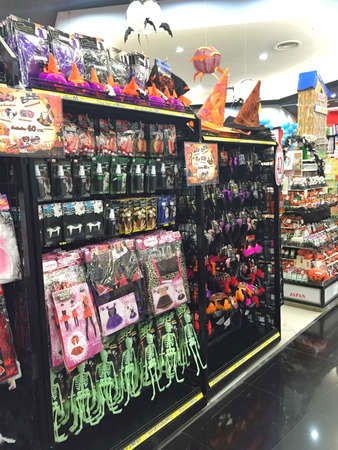 BANGKOK, THAILAND - OCTOBER 10: Halloween products inventory in a shop inside of Central Chaengwattana department store on October 10, 2016 in Bangkok, Thailand. Halloween is not popular festivity in Thailand. Editorial