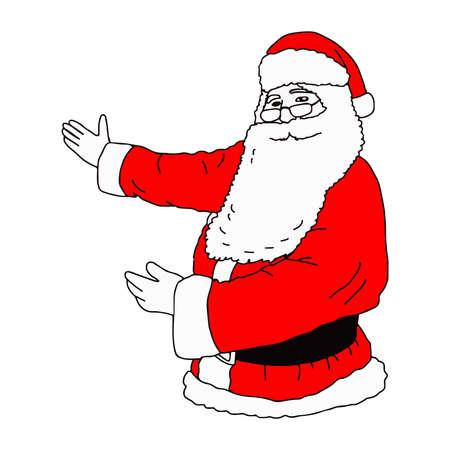 illustation vector hand drawn of Santa Claus presenting something isolated on white background Illustration