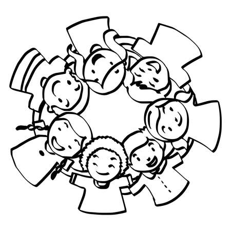 illustration vector hand drawn doodle of seven children huddled together Illustration