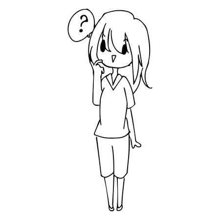 ignore: illustration vector hand drawn doodle of  little confused girl with question mark