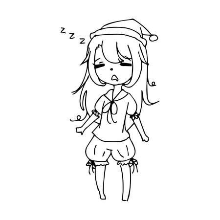 bolster: illustration vector hand drawn doodle of sleeping girl with bolster Illustration