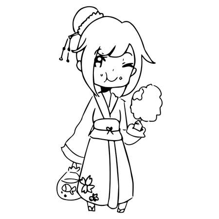 japanese dessert: illustration vector hand drawn doodle of girl wearing traditional japanese clothing and eating candy.