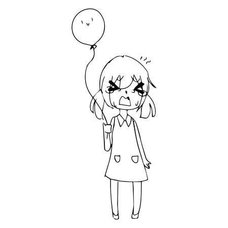 teary: illustration vector hand drawn doodle of  little girl crying with ponytails and balloon in hand
