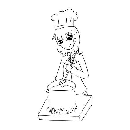 illustration vector hand drawn doodle of chef woman in uniform cooking on pot