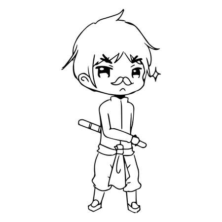 absentee: illustration vector hand drawn doodle of  little boy wearing thai traditional clothing with a stick on his hand
