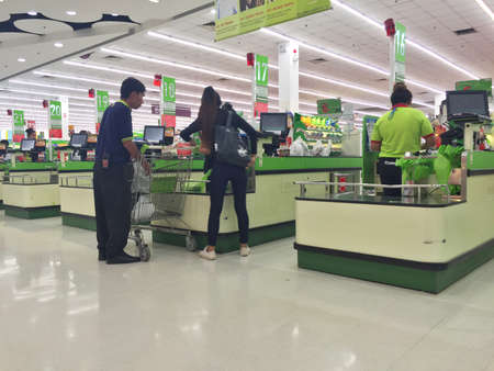 public market sign: CHIANG RAI, THAILAND - OCTOBER 18 : line at the cashdesks in BigC supermarket interior view on October 18, 2016 in Chiang rai, Thailand. BigC is a very big supermarket chain in Thailand.