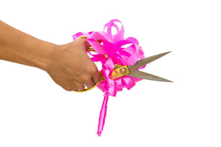 unveiling: mans hand cutting something with scissors and pink bow isolated on white background. Stock Photo
