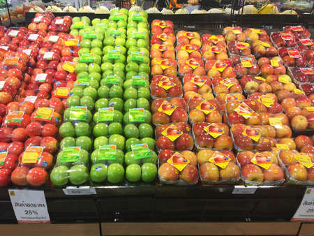 CHIANG RAI, THAILAND - OCTOBER 28 : Fresh organic red and green apples in supermarket farmers market on shelves in Big C Supercenter on October 28, 2016 in Chiang rai, Thailand. Editorial