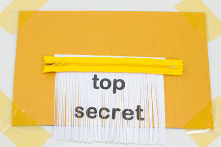 shredder machine: Top Secret, destroying sheet of paper with yellow zipper as a shredder.
