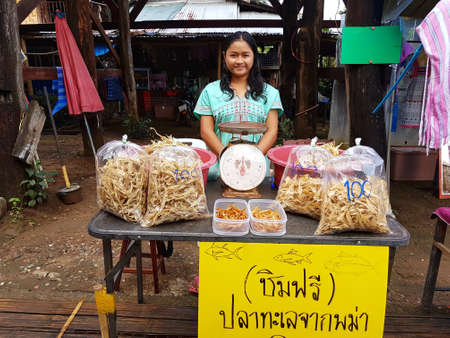 most creative: KANCHANABURI, THAILAND - NOVEMBER 25: unidentified Burmese smiling woman selling dried fish in the morning market at Sangkhlaburi on November 25, 2016 in Kanchanaburi, Thailand