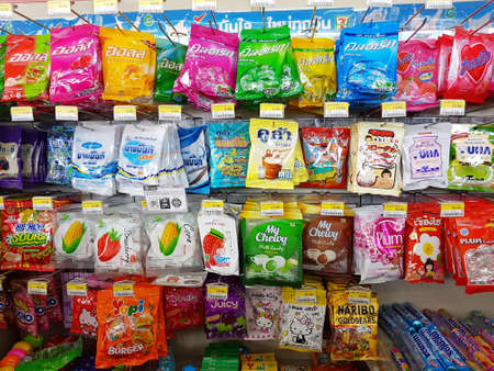 gummie: CHIANG RAI, THAILAND - NOVEMBER 25: various brand of candy in packaging for sale on supermarket stand or shelf in Seven Eleven on November 25, 2016 in Chiang rai, Thailand. Editorial
