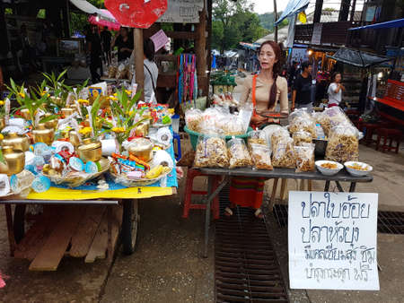 most creative: KANCHANABURI, THAILAND - NOVEMBER 25: unidentified people in the morning market at Sangkhlaburi on November 25, 2016 in Kanchanaburi, Thailand.
