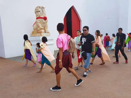 newest: KANCHANABURI, THAILAND - NOVEMBER 26: unidentified asian people wearing Thai traditional clothing at Malika R.E.124 on November 26, 2016 in Kanchanaburi, Thailand.  Malika R.E.124 is the newest attraction place of Kanchanaburi Province