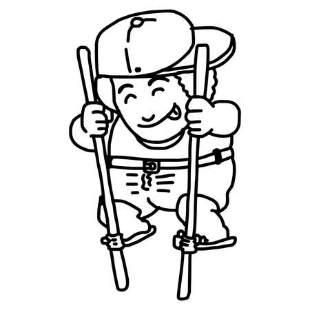 adolescent: illustration vector doodles hand drawn boy with hat standing on bamboo