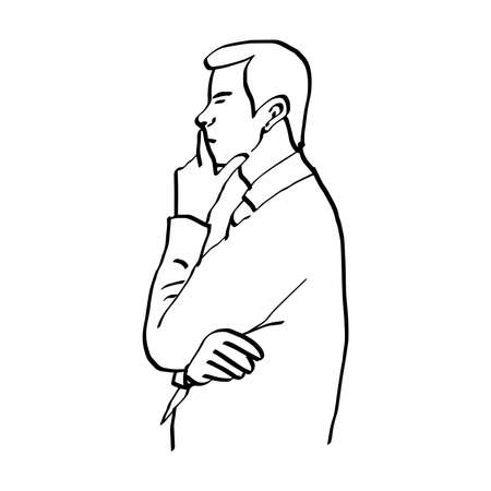 illustration vector doodles hand drawn man thinking and resting chin on hand, side view