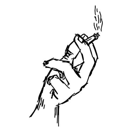 venomous: illustration vector hand drawn of hand holding cigarette with smoke