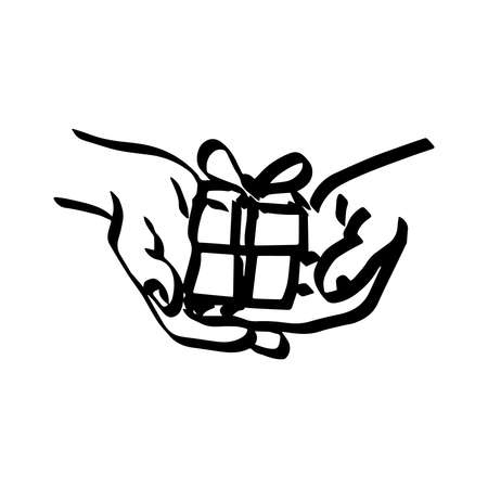 finger bow: illustration vector doodle hand drawn of sketch hand of person giving or receiving gift package. Thick lines. Illustration