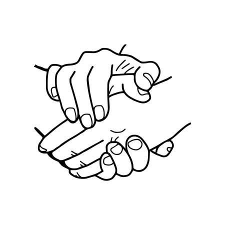 Partneship. hand drawn handshake vector illustration Vectores