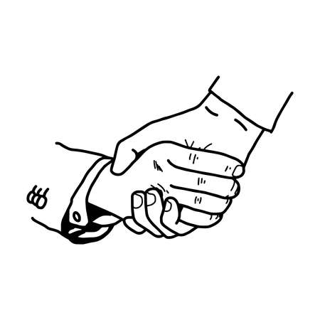 illustration vector doodle hand drawn of tight handshake between businessman, partnership concept