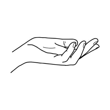 illustration vector doodle hand drawn of open hand giving or receiving