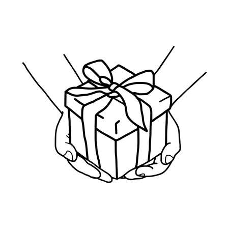illustation vector hand drawn doodle of Hand holding a gift box with bow
