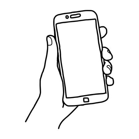 illustration vector doodle hand drawn sketch of human left hand using or holding big smart mobile phone isolated
