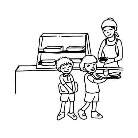 illustation vector hand drawn doodle of canteen with two boys holding tray isolated on white background Vector Illustration