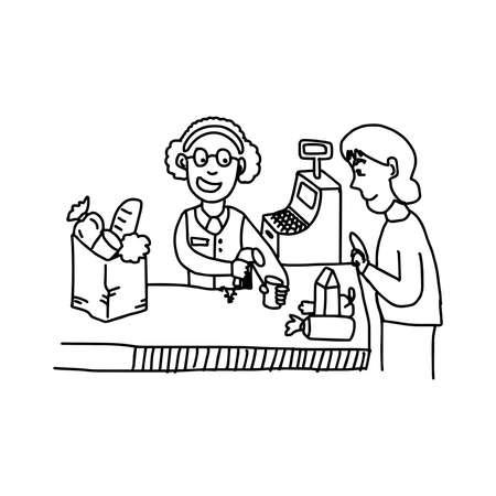 supermarket cash: illustation vector hand drawn doodle of old woman using bar code scanner at supermarket cash register Illustration