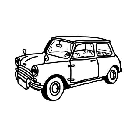 illustation vector hand drawn doodle of retro car isolated on white background Illustration