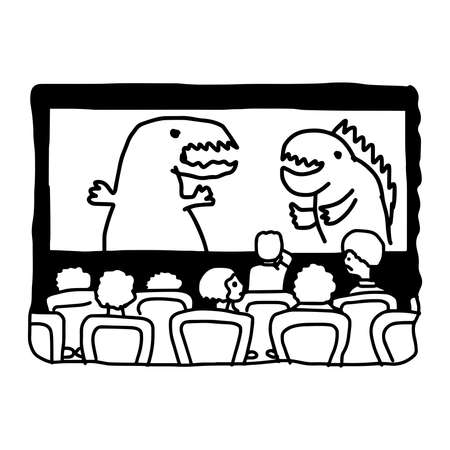 monster movie: illustation vector hand drawn doodle of movie theater with monster on screen isolated on white background Illustration
