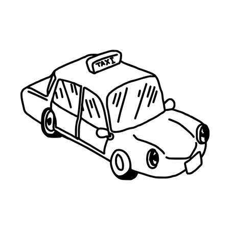illustation vector hand drawn doodle of taxi icon isolated on white background