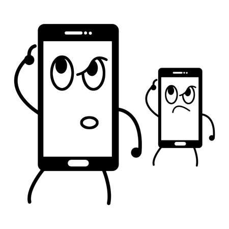 그림 호기심 얼굴, 호기심 개념을 가진 휴대 전화의 벡터 스톡 콘텐츠