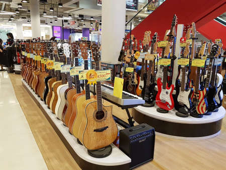 CHIANG RAI, THAILAND - FEBRUARY 2 : Department store interior view with guitar zone at Central Plaza on February 2, 2017 in Chiang rai, Thailand.