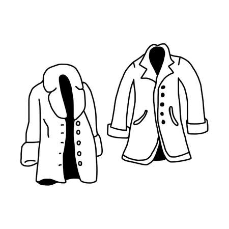 vector illustration hand drawn sketch of coat isolated on white background Illustration