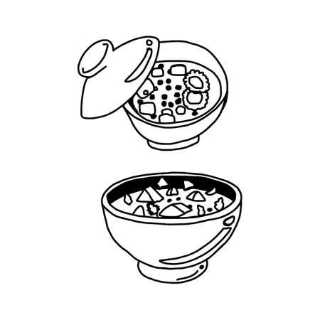 Hand drawn sketch of miso soup in bowl illustration. Illustration