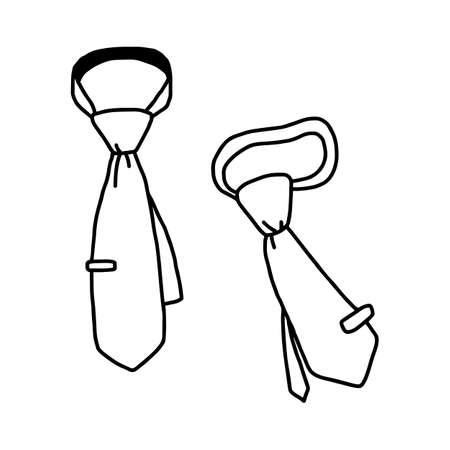 vector illustration hand drawn sketch of necktie isolated on white background