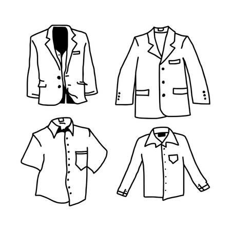 Hand drawn sketch of shirt set illustration  isolated on white layout.