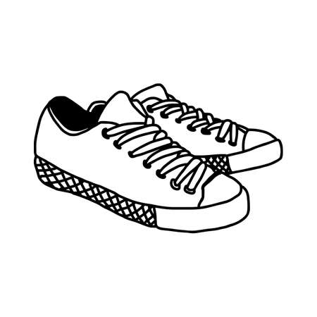 vector illustration hand drawn sketch of sneakers isolated on white background Illustration