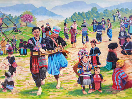 CHIANG RAI, THAILAND - FEBRUARY 2 : painting of hilltribe people on a wall on February 2, 2017 in Chiang rai, Thailand.