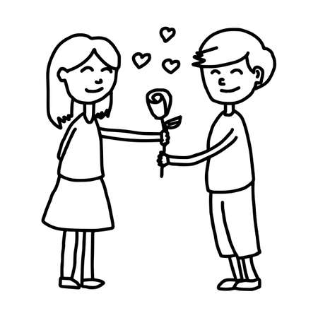 boy giving his girfriend a rose - illustration vector doodle hand drawn, isolated on white background