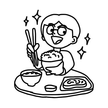 man enjoy eating Japanese food - illustration vector doodle hand drawn, isolated on white background