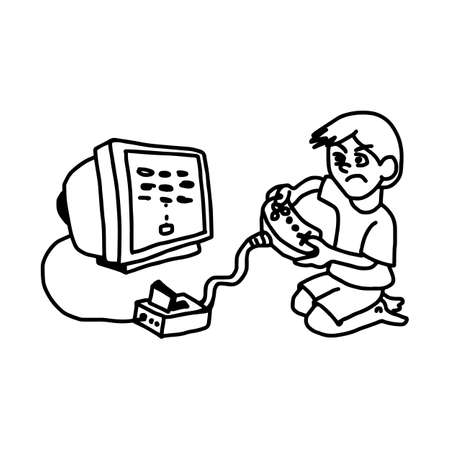 boy playing video game on television - illustration vector doodle hand drawn, isolated on white background